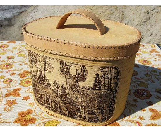 """Хлебница большая овальная """"Олени"""". Короб из бересты, фото , изображение 2"""