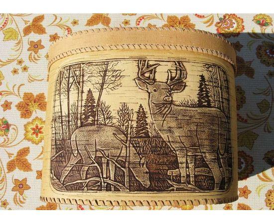 """Хлебница большая овальная """"Олени"""". Короб из бересты, фото , изображение 3"""