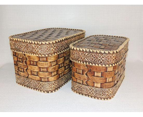 Набор из двух плетеных коробов, фото , изображение 2