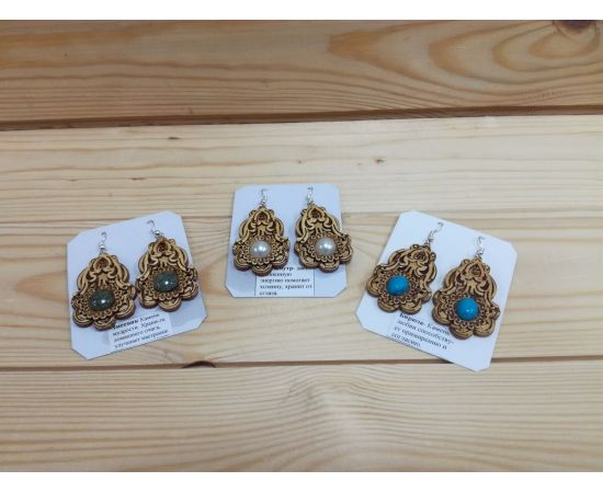 Серьги из бересты «Колокольчик» (камень в ассортименте), фото , изображение 5