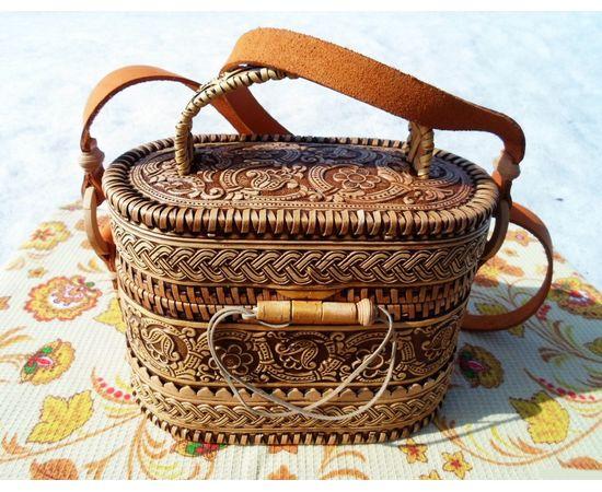 Берестяная сумочка «Цветочный орнамент», фото , изображение 2