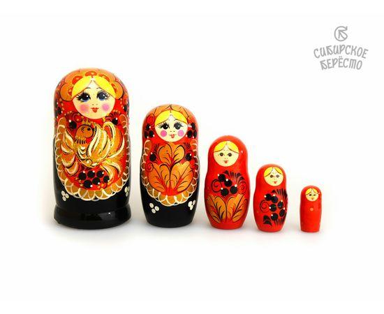 """Матрешка большая """"Жар-птица"""" 5 кукол (Темная), фото , изображение 2"""