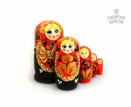 """Матрешка большая """"Жар-птица"""" 5 кукол (Темная), фото , изображение 3"""