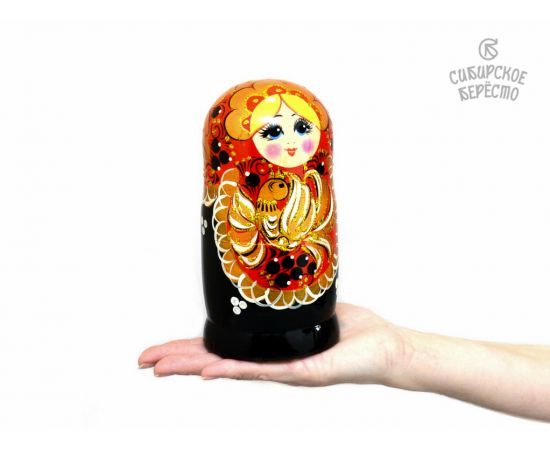 """Матрешка большая """"Жар-птица"""" 5 кукол (Темная), фото , изображение 5"""