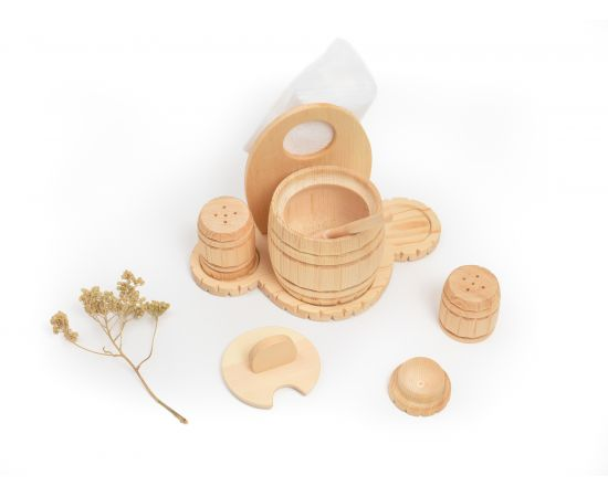 Набор из кедра для сахара соли перца, фото , изображение 7