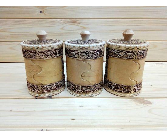 Набор туесов «Рябинка» Чай Соль Сахар D8, фото , изображение 3