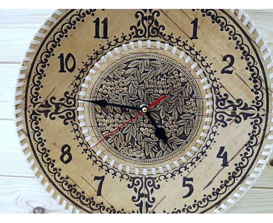 """Часы из бересты настенные большие """"Рябина"""", фото , изображение 2"""