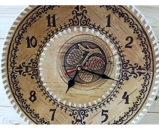 """Часы из бересты настенные большие """"Шишки"""", фото , изображение 3"""