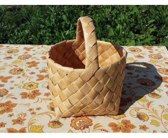 Корзина из бересты плетеная средняя, фото , изображение 3