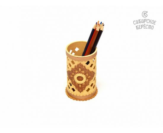 Салфетница - Карандашница из бересты резная, фото , изображение 2