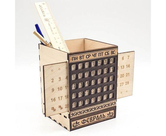 Карандашница деревянная с календарем, фото
