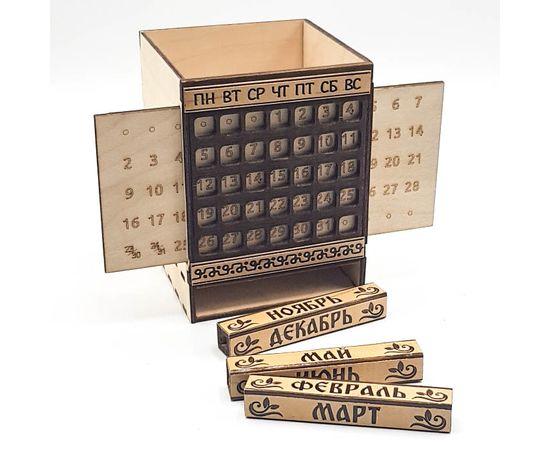 Карандашница деревянная с календарем, фото , изображение 2