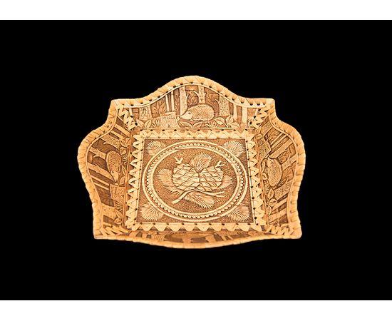 Тарелка из бересты квадратная, фото , изображение 2