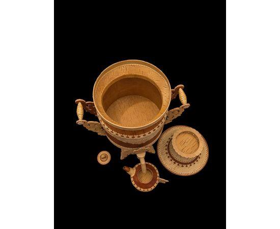 Самовар из бересты сувенирный большой, фото , изображение 3