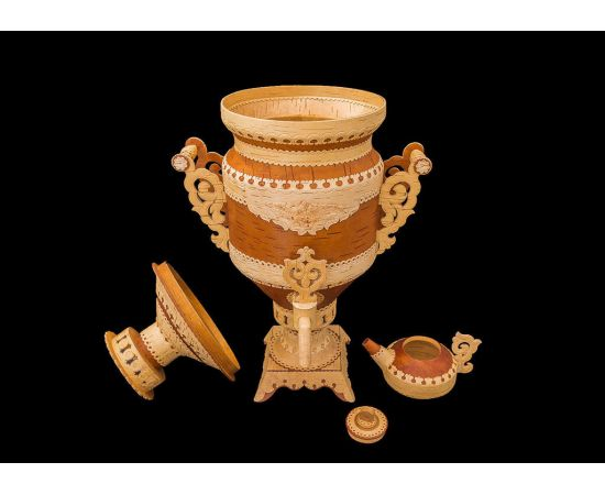 Самовар из бересты сувенирный большой, фото , изображение 7