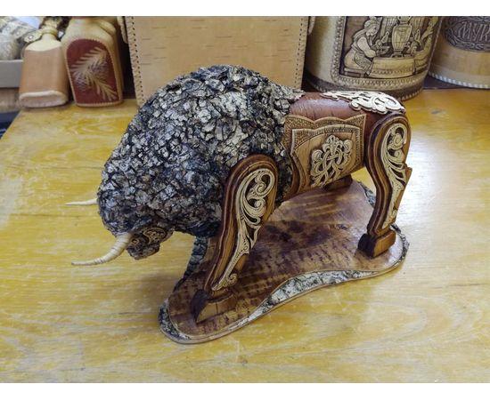 Статуэтка из бересты «Бык». Дорогой подарок ручной работы, фото , изображение 3