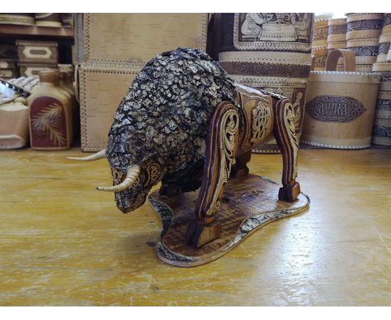Статуэтка из бересты «Бык». Дорогой подарок ручной работы, фото , изображение 4