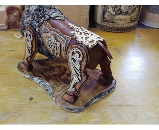 Статуэтка из бересты «Бык». Дорогой подарок ручной работы, фото , изображение 8