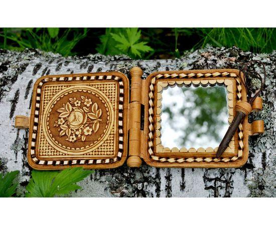 """Зеркальце из бересты карманное """"Рябина"""", фото , изображение 3"""