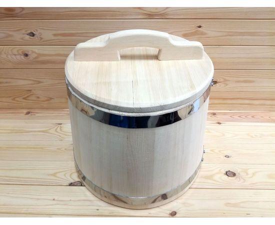 Кадка из кедра 20 л обручи из нержавеющей стали, фото , изображение 2