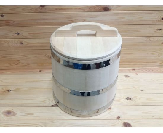 Кадка из кедра 25 л обручи из нержавеющей стали, фото , изображение 2