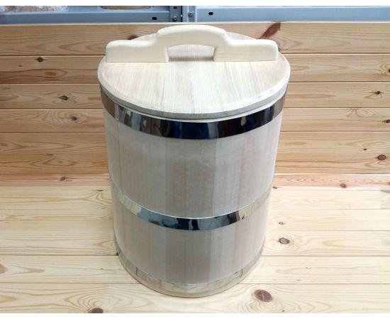 Кадка из кедра 40 л обручи из нержавеющей стали, фото , изображение 2
