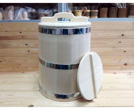 Кадка из кедра 40 л обручи из нержавеющей стали, фото , изображение 4