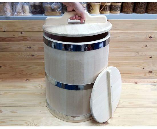 Кадка из кедра 40 л обручи из нержавеющей стали, фото , изображение 5