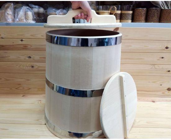 Кадка из кедра 40 л обручи из нержавеющей стали, фото , изображение 6