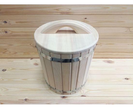 Кадка кедровая с гнетом и крышкой 10 л, фото , изображение 2