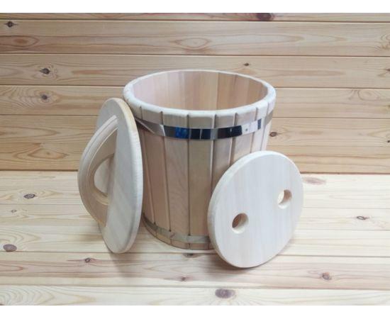 Кадка кедровая с гнетом и крышкой 10 л, фото , изображение 3