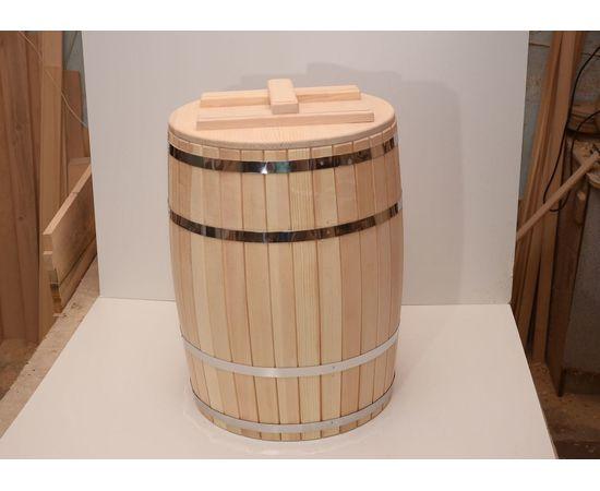 Бочка деревянная с крышкой 100 литров, фото , изображение 2