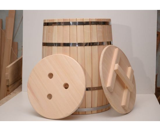 Бочка деревянная с крышкой 100 литров, фото , изображение 3