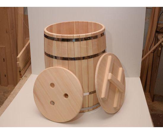 Бочка деревянная с крышкой 100 литров, фото , изображение 4