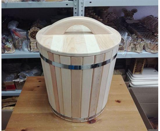 Кадка из кедра с гнетом и крышкой 30 л, фото , изображение 2