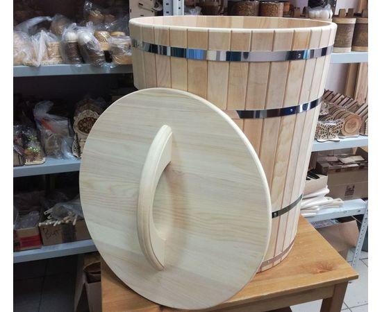 Кадка из кедра с гнетом и крышкой 150 л, фото , изображение 3
