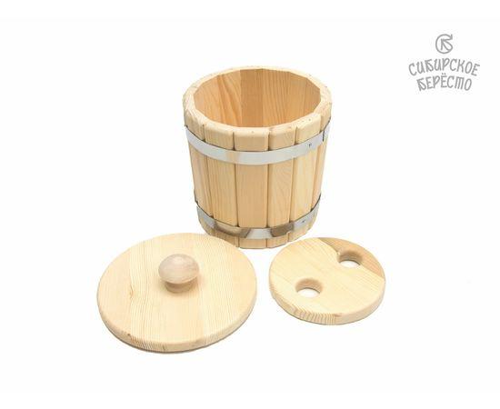 Кадка из кедра с гнетом и крышкой 3 л, фото , изображение 3