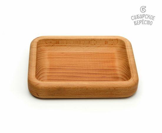 Тарелка деревянная прямоугольная из бука, фото