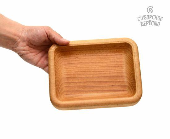 Тарелка деревянная прямоугольная из бука, фото , изображение 3