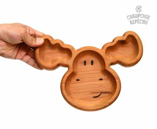 Тарелка деревянная с животным Лось, фото , изображение 5