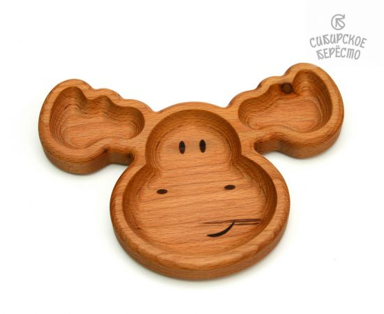 Тарелка деревянная с животным Лось, фото