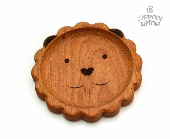 Тарелка деревянная с животным Лев, фото