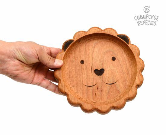 Тарелка деревянная с животным Лев, фото , изображение 3