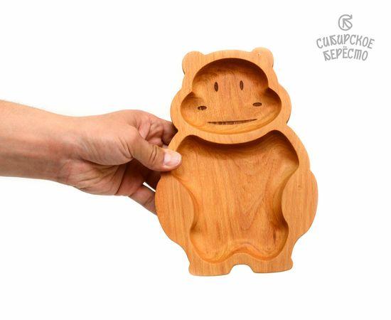 Тарелка деревянная с животным Бегемот, фото , изображение 4