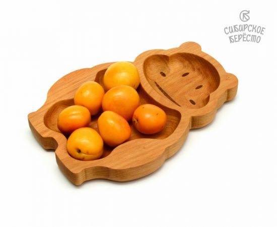 Тарелка деревянная с животным Бегемот, фото , изображение 5