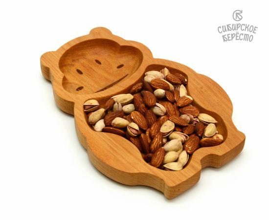 Тарелка деревянная с животным Бегемот, фото , изображение 6