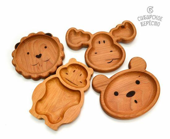 Тарелка деревянная с животным Бегемот, фото , изображение 7