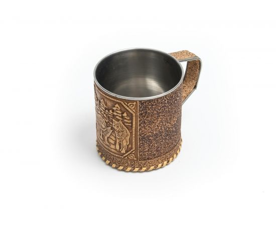 Кружка металлическая с берестой «Волки», фото , изображение 3