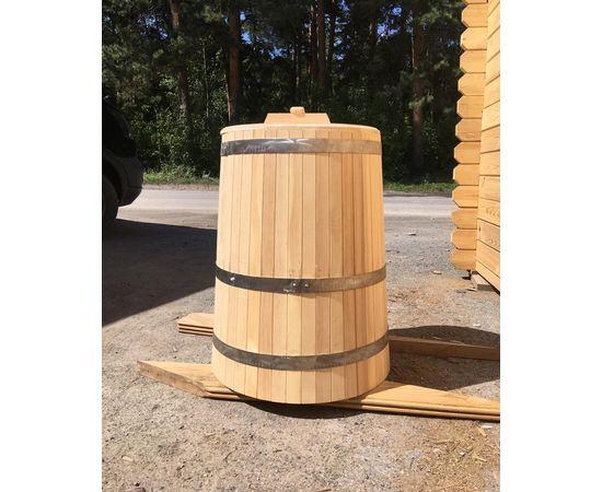 Кадка деревянная с крышкой 200 л. Бочка для воды, фото