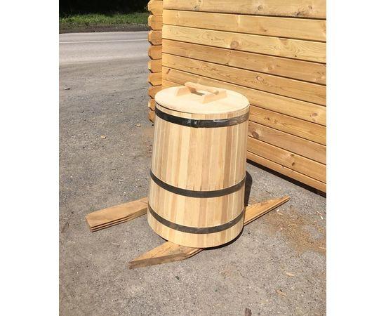 Кадка деревянная с крышкой 200 л. Бочка для воды, фото , изображение 2